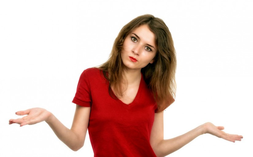 confused girl in red shirt with options