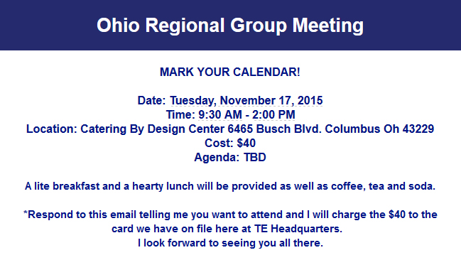 Details of Top Echelon Network's Ohio Regional Core Group meeting