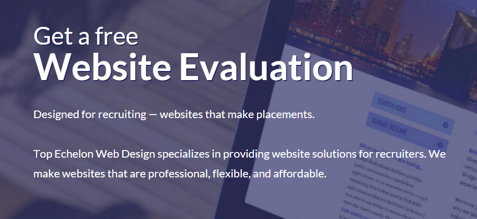Top Echelon's FREE website evaluation page