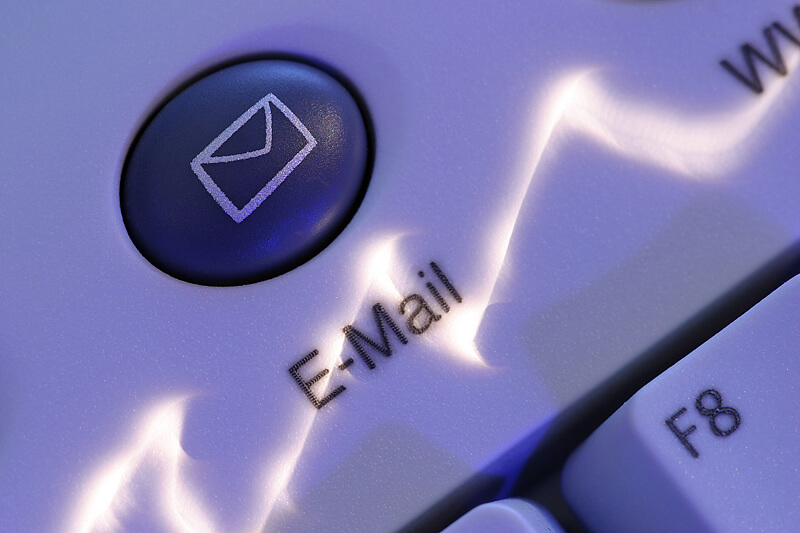 Emailing button on a computer keyboard