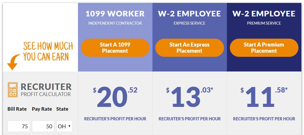 Recruiters placing 1099 contractors